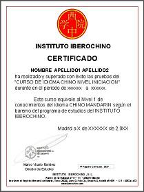 Certificado de Instituto Iberochino